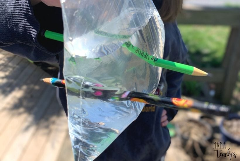 STEM Experiment Pencil Through Bag Magic Trick - MamaTeaches
