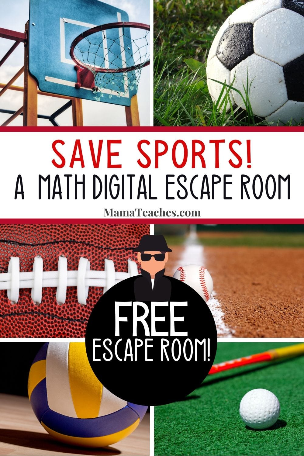 Save Sports! A Math Digital Escape Room for Grades 3-5. Focuses on multiplication, addition, and subtraction...with a directional question thrown in! Find it for free at MamaTeaches.com