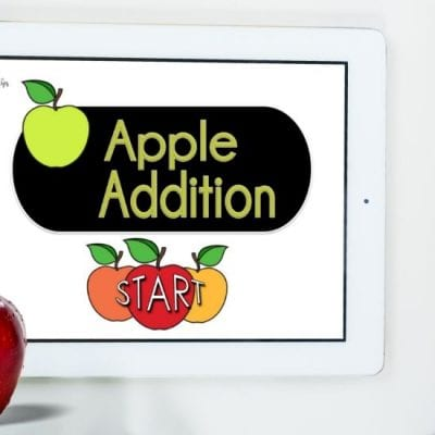 Apple Addition Digital Math Game for Preschool and Kindergarten on a Tablet - MamaTeaches.com