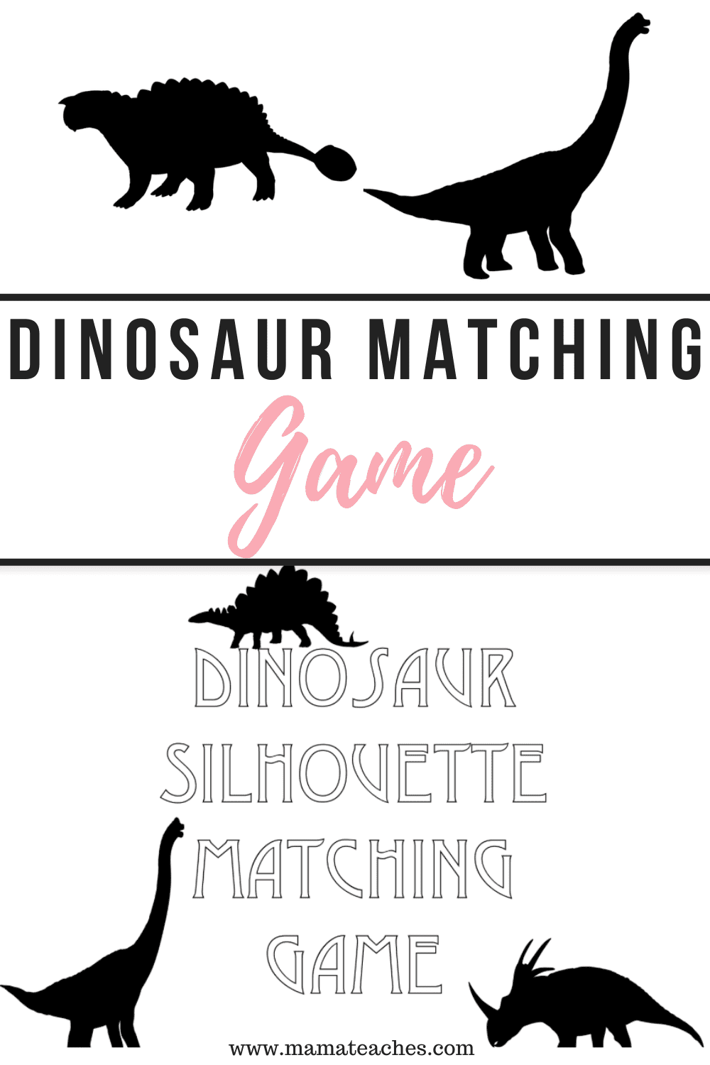 Dinosaur Matching Game Freebie from MamaTeaches.com