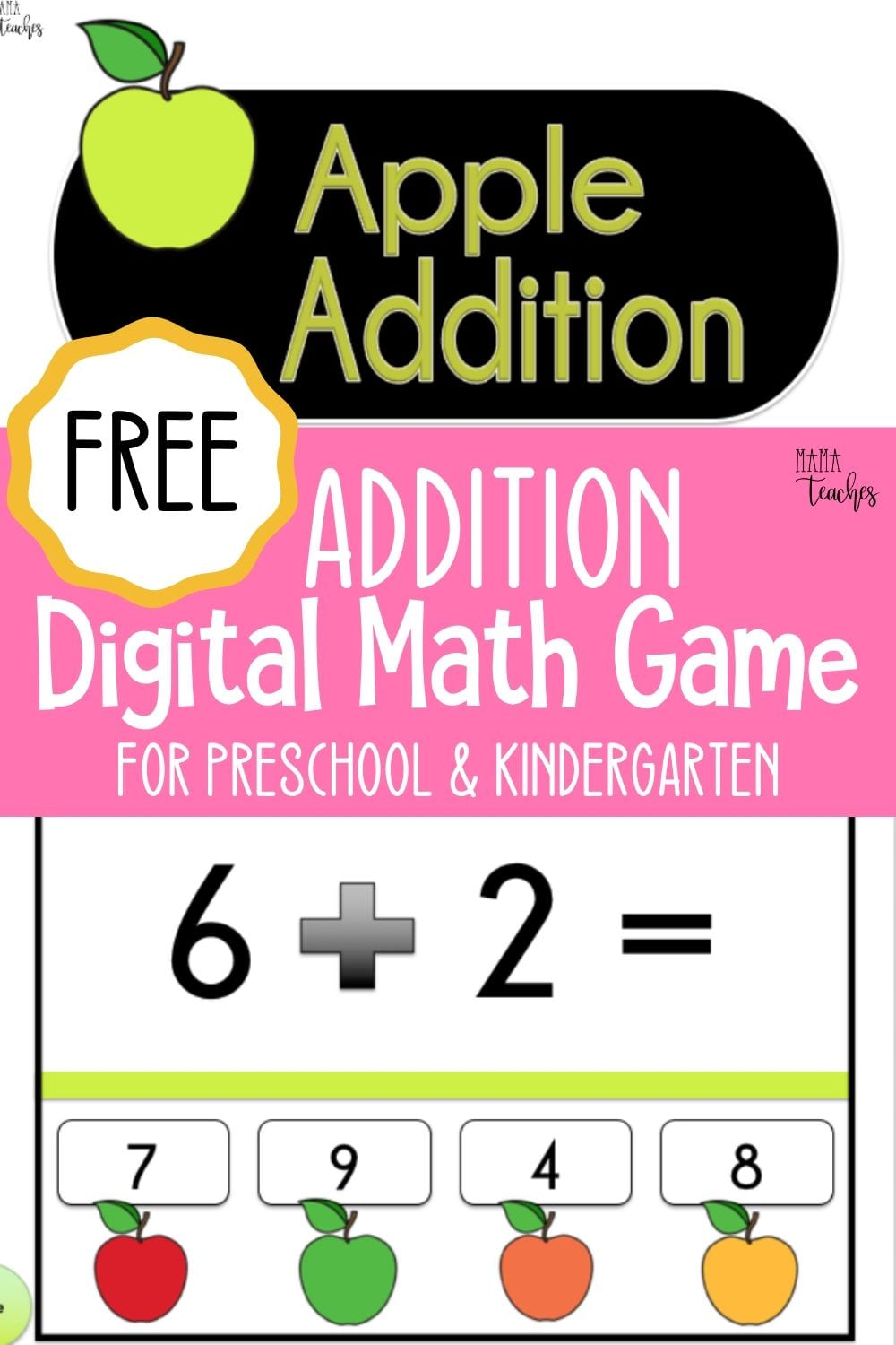 Free Addition Digital Math Game for Preschool and Kindergarten - MamaTeaches.com