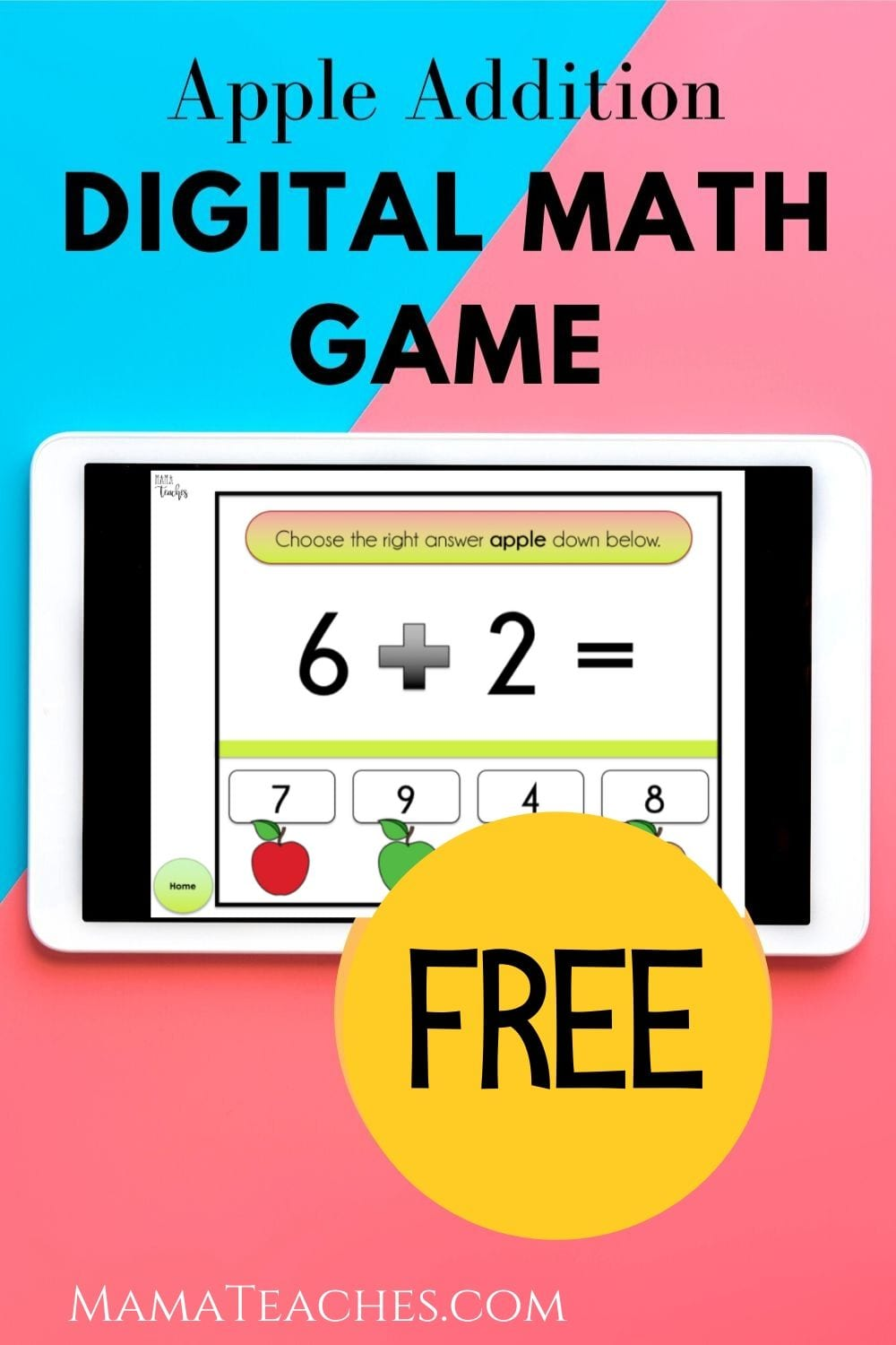 Free Apple Addition Digital Math Game for Early Learners