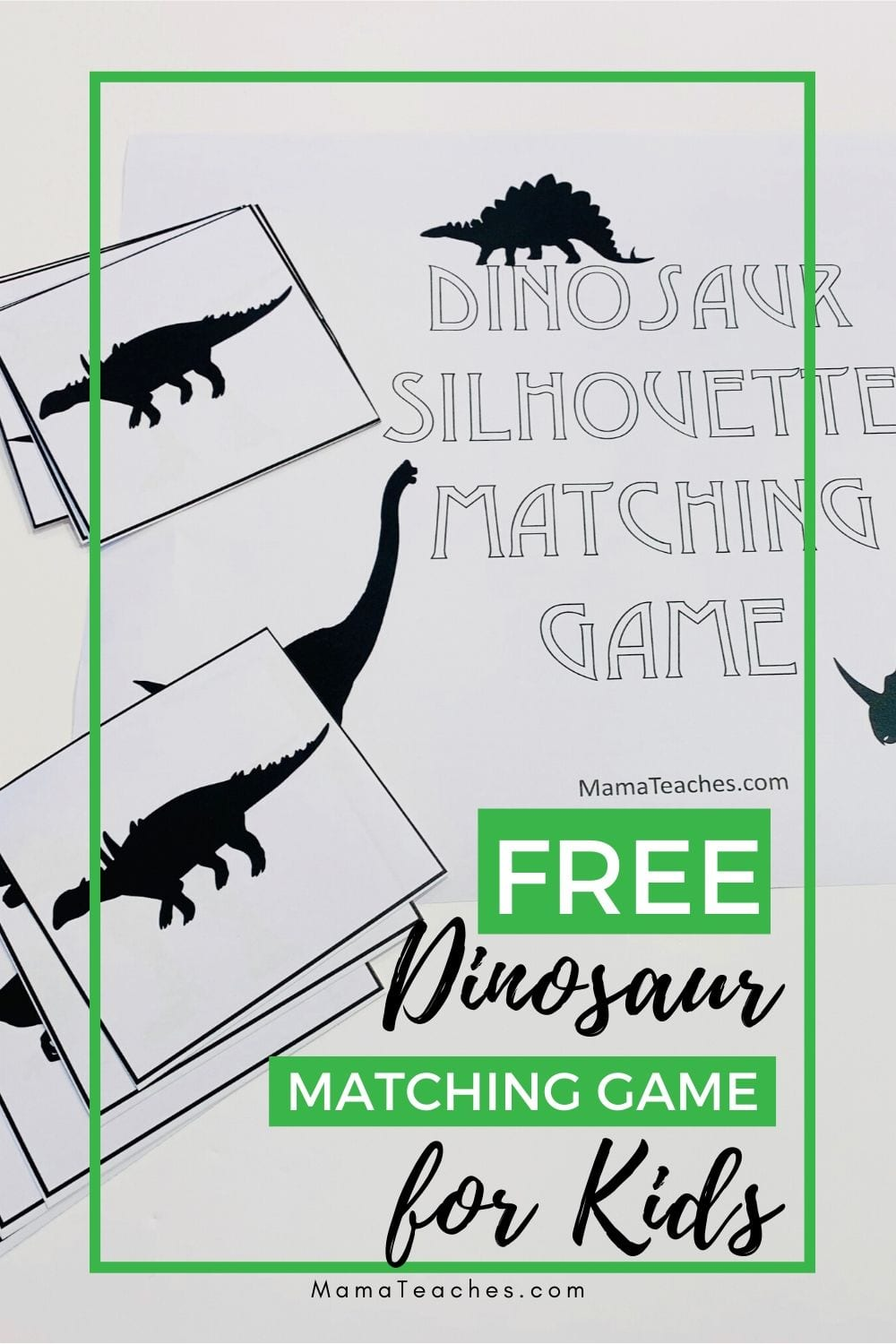 Free Dinosaur Matching Game for Kids - MamaTeaches.com