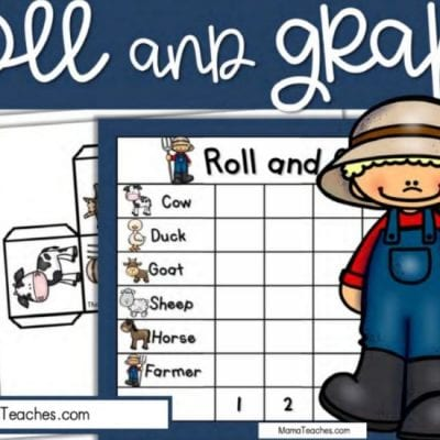Free Farm Math Game - Roll and Graph Math Game for Kindergarten and Preschool