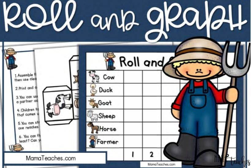 Free Farm Math Game - Roll and Graph Math Game for Kindergarten and Preschool - MamaTeaches.com