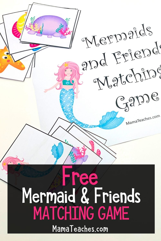 Free Mermaid Friends Matching Game - MamaTeaches.com