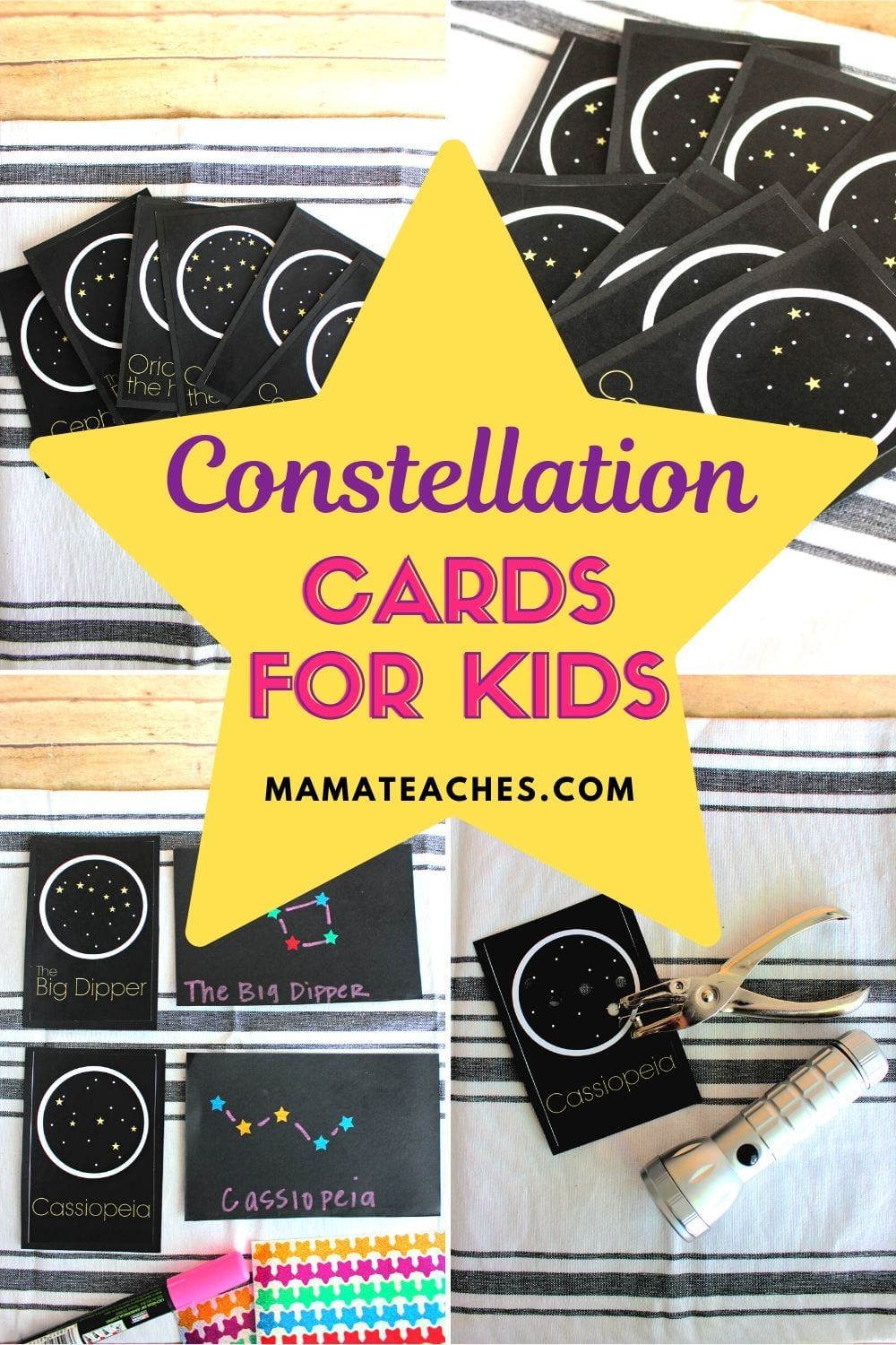 Free Constellation Cards for Kids - Printable Astronomy for Kids - MamaTeaches.com
