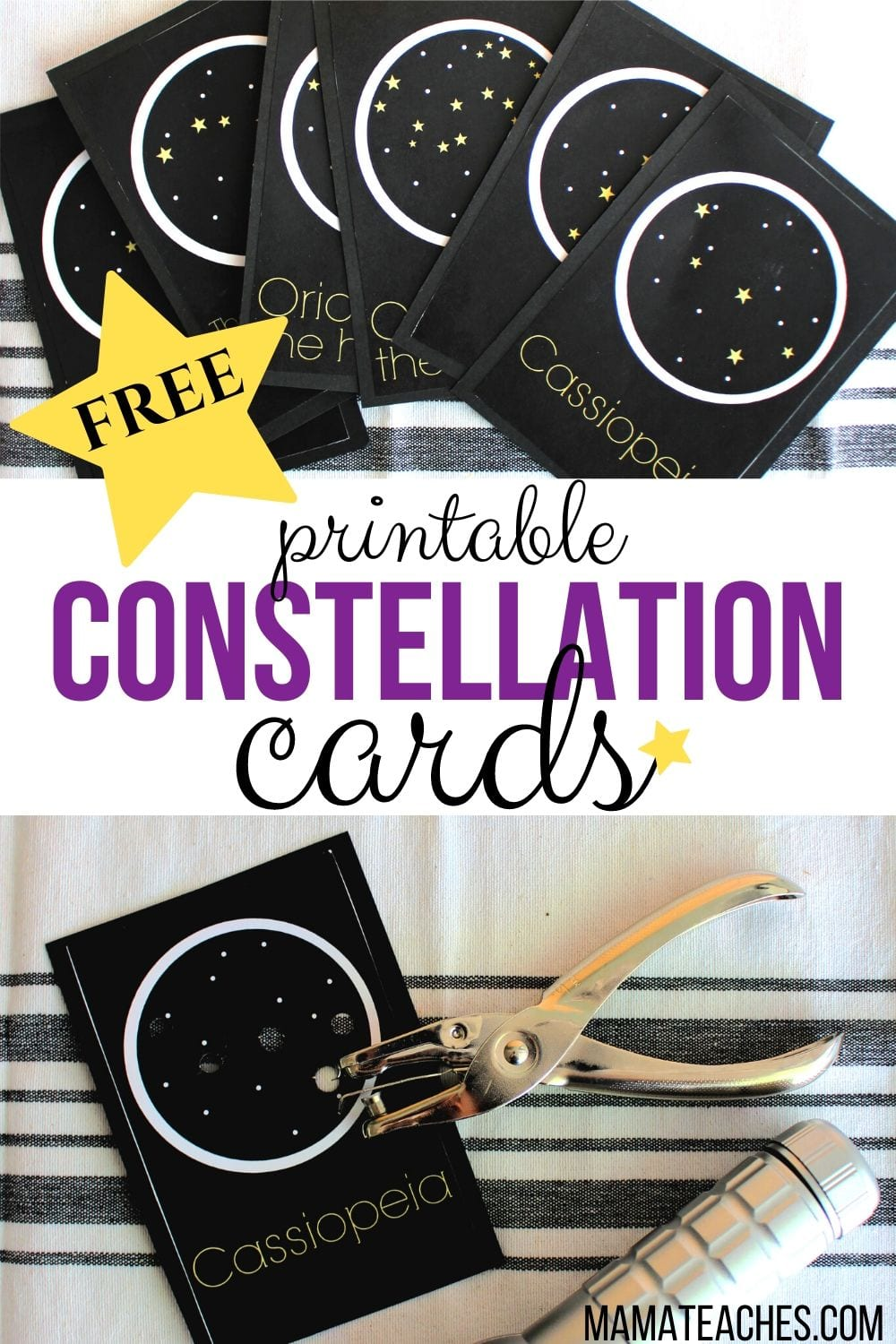 Free Printable Constellation Cards to Teach Constellations for Kids - MamaTeaches.com