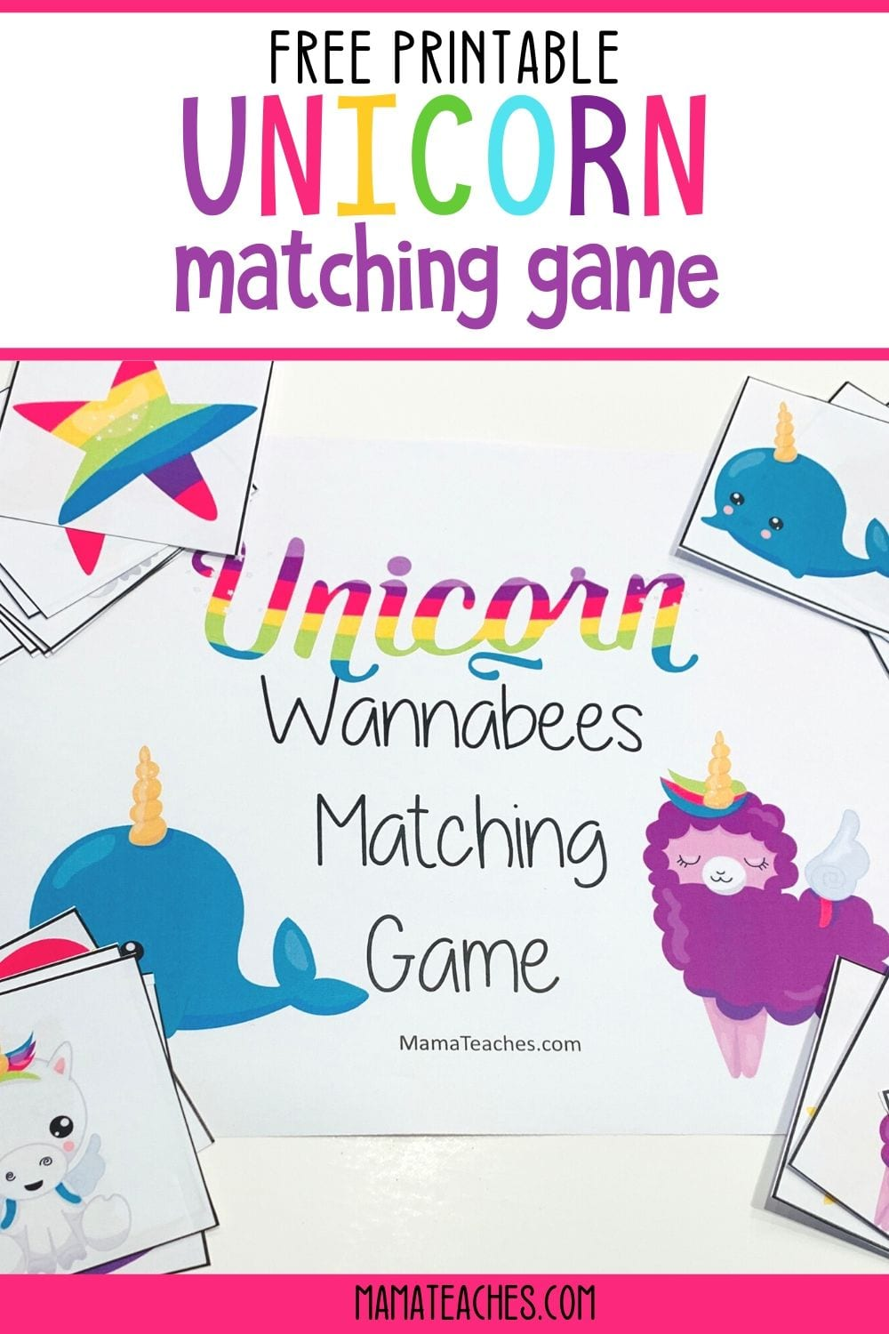 Free Printable Unicorn Matching Game featuring Unicorn Wannabees - MamaTeaches.com