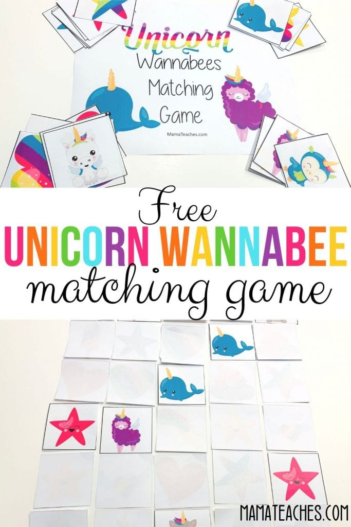Unicorn Wannabee Matching Game Freebie