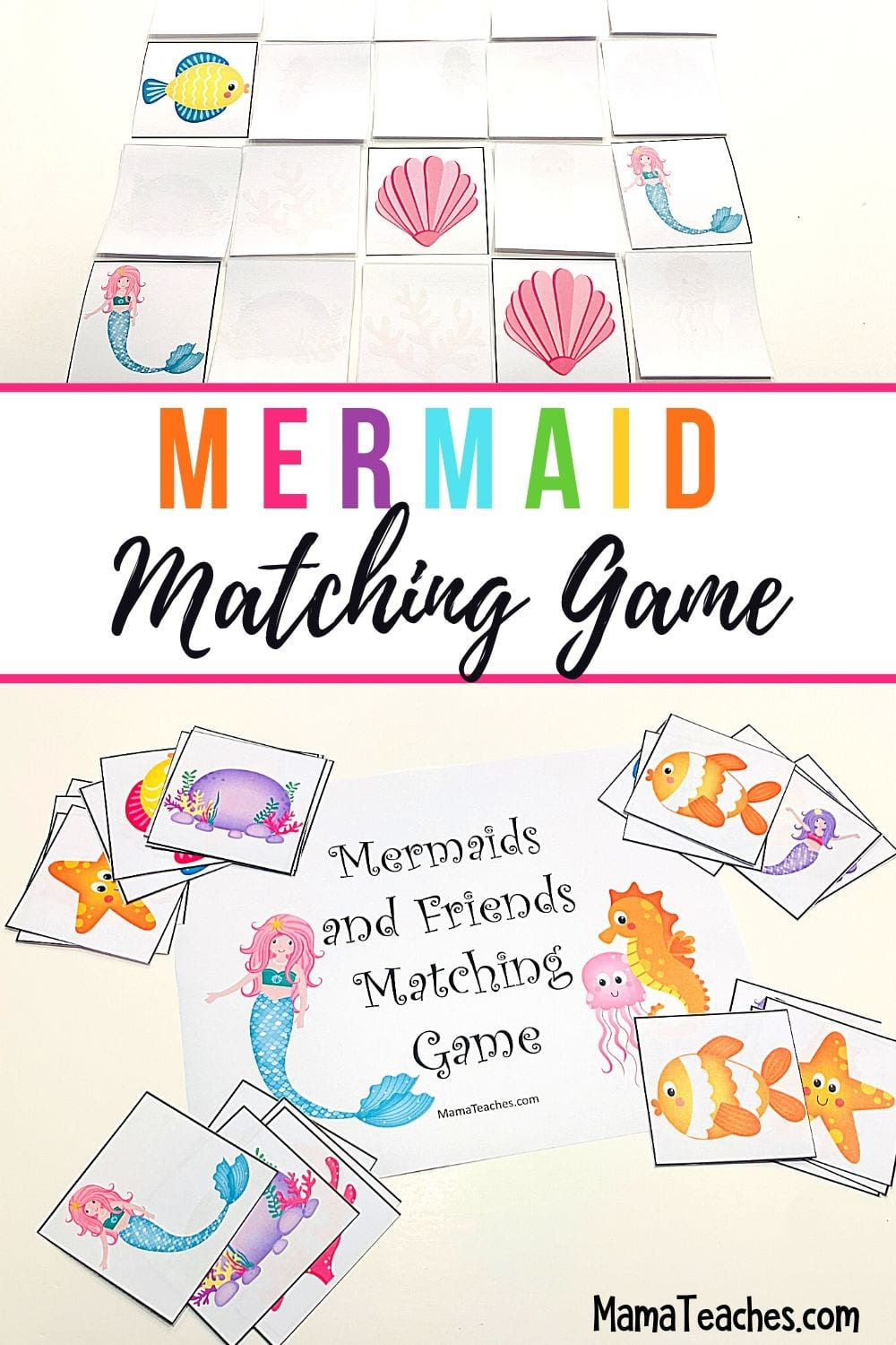 Mermaid Matching Game Freebie - a Printable Memory match Game for Kids from MamaTeaches.com