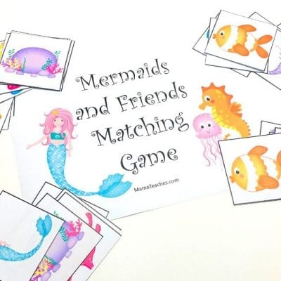 Mermaids Matching Game for Kids - MamaTeaches.com