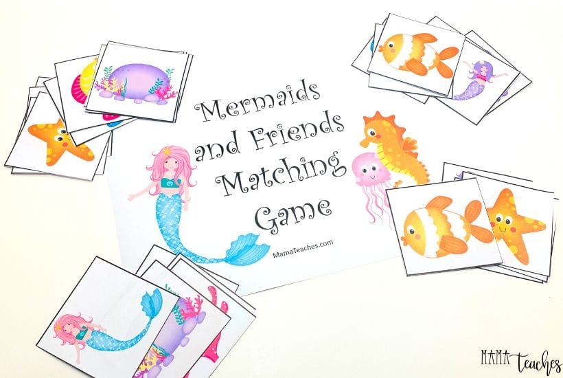 Mermaids Matching Game for Kids - MamaTeaches.com