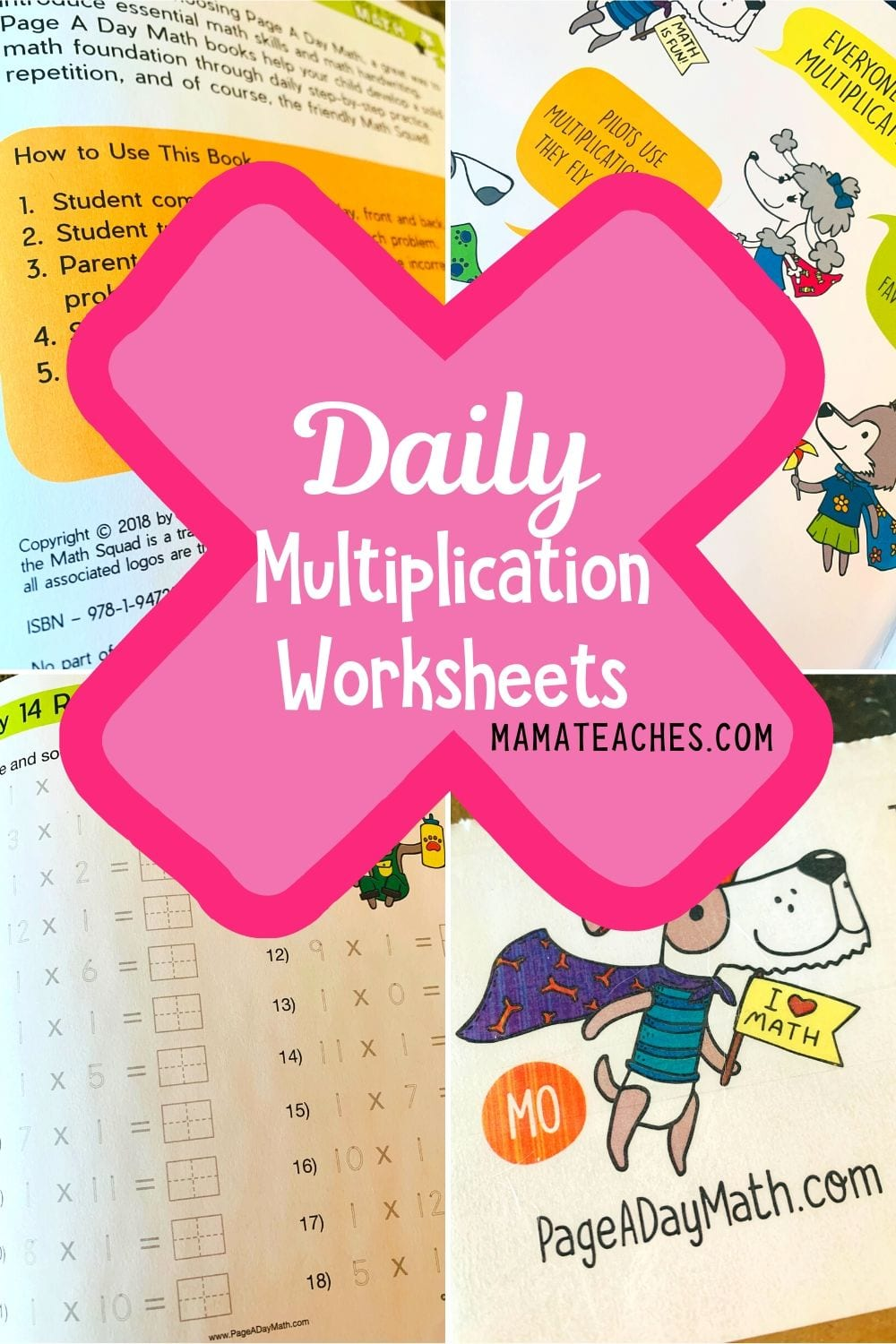 Daily Multiplication Worksheets for Kids from Page a Day Math