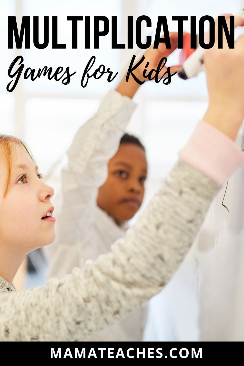 Multiplication Games for Kids - Children Working on Math Problems at a Chalkboard