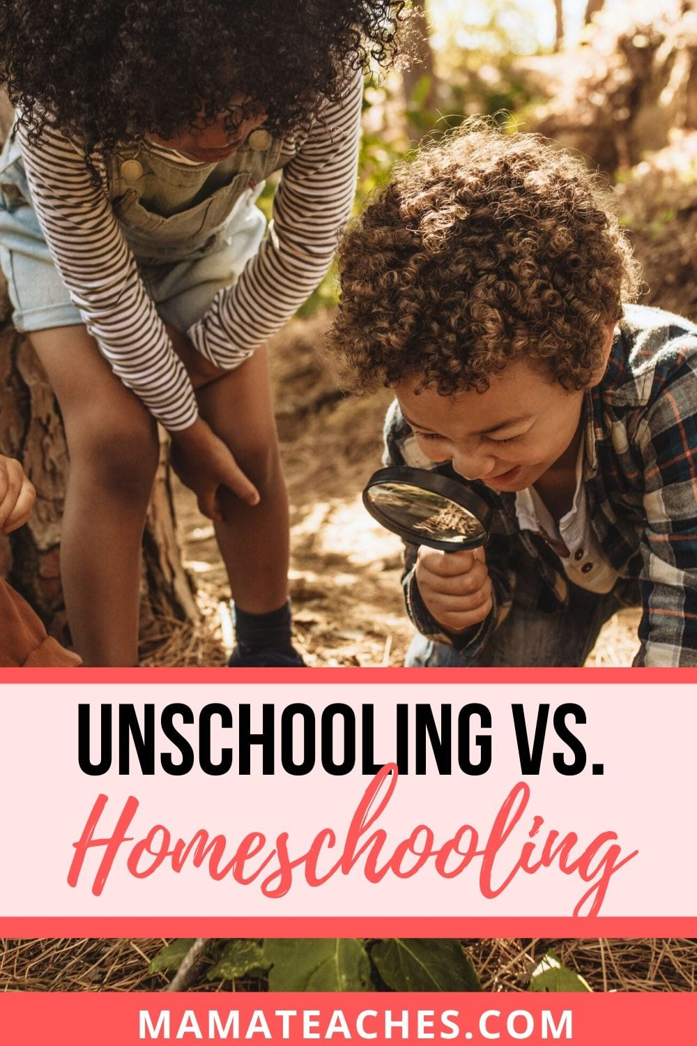 Unschooling vs Homeschooling can look like kids exploring the world around them as they go for a walk in the wood!