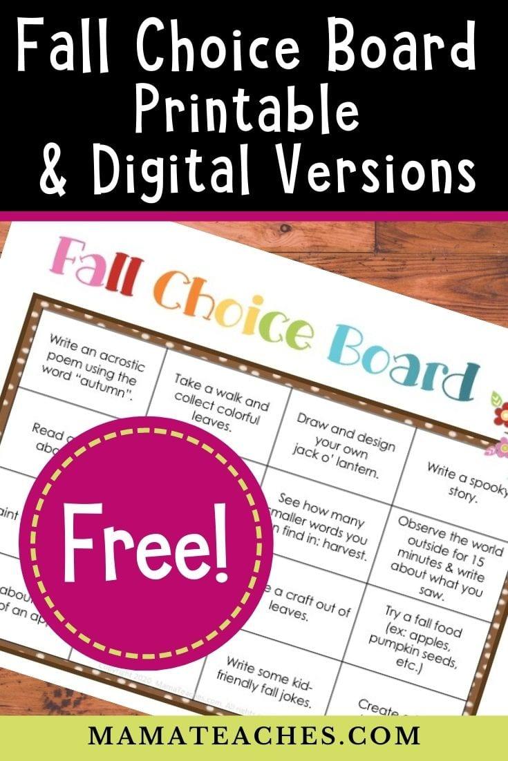 Fall Choice Board - Free Printable and Digital Versions