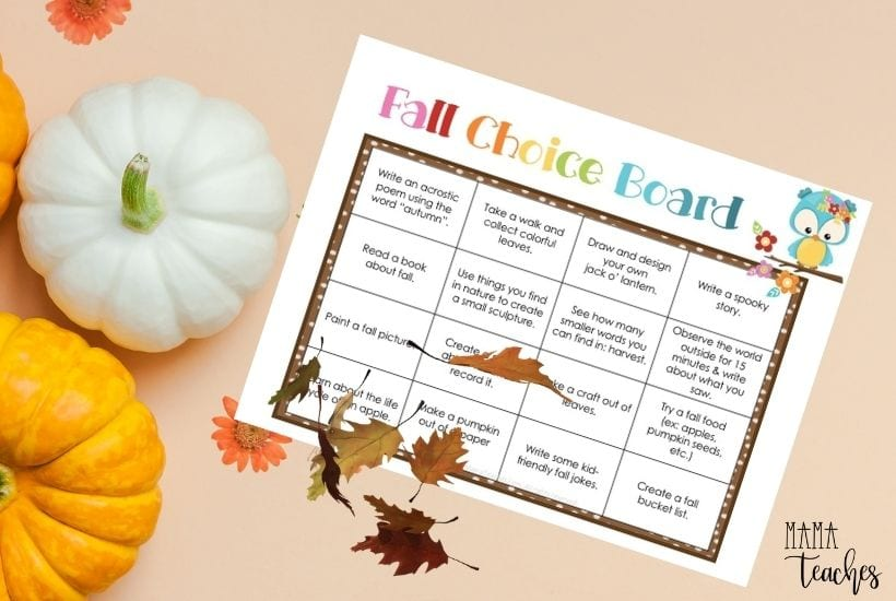 Fall Choice Board for Kids - Digital and Printable Versions