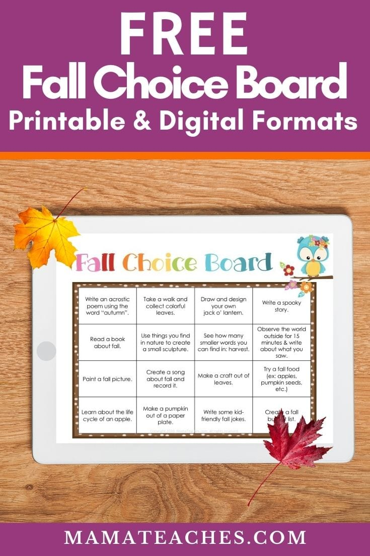 Free Fall Choice Board for Virtual Learning