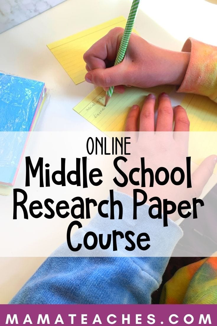 Using Notecards for Her Online Middle School Research Paper Course - See if this homeschool curriculum would work for your family!