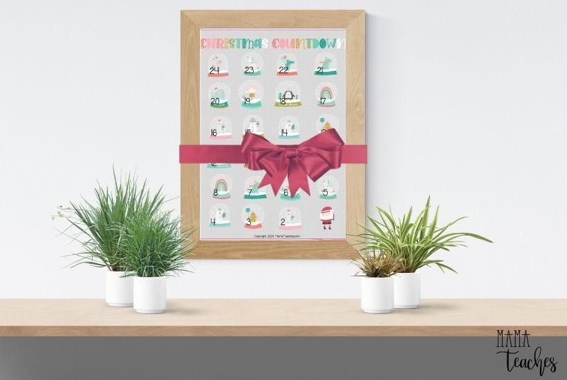Christmas Countdown Calendar Printable for Kids