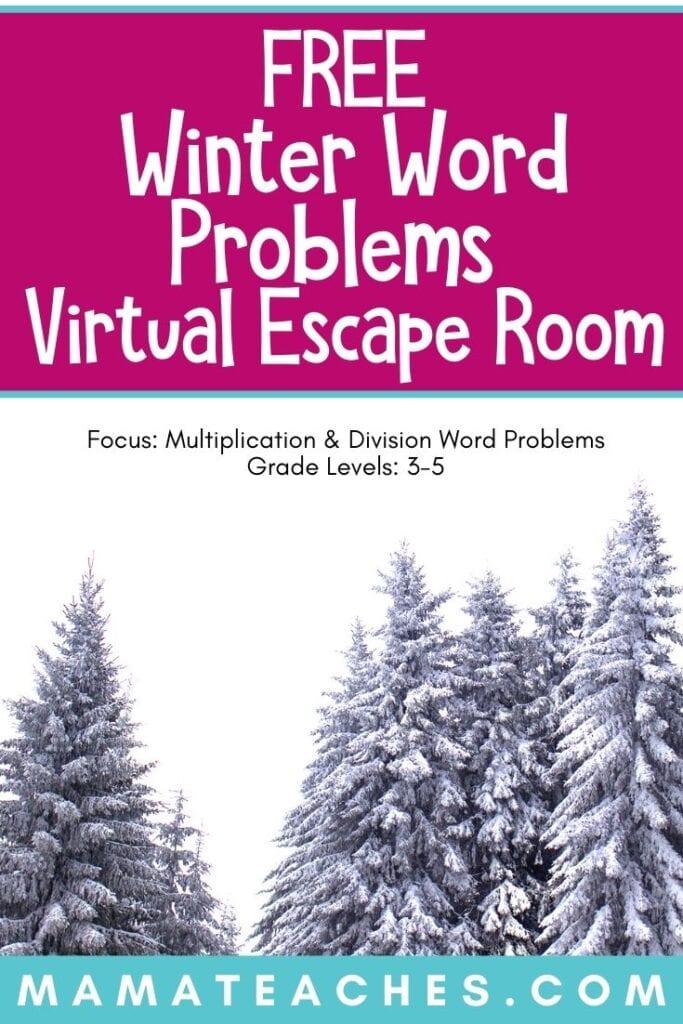 Winter Word Problem Virtual Escape Room