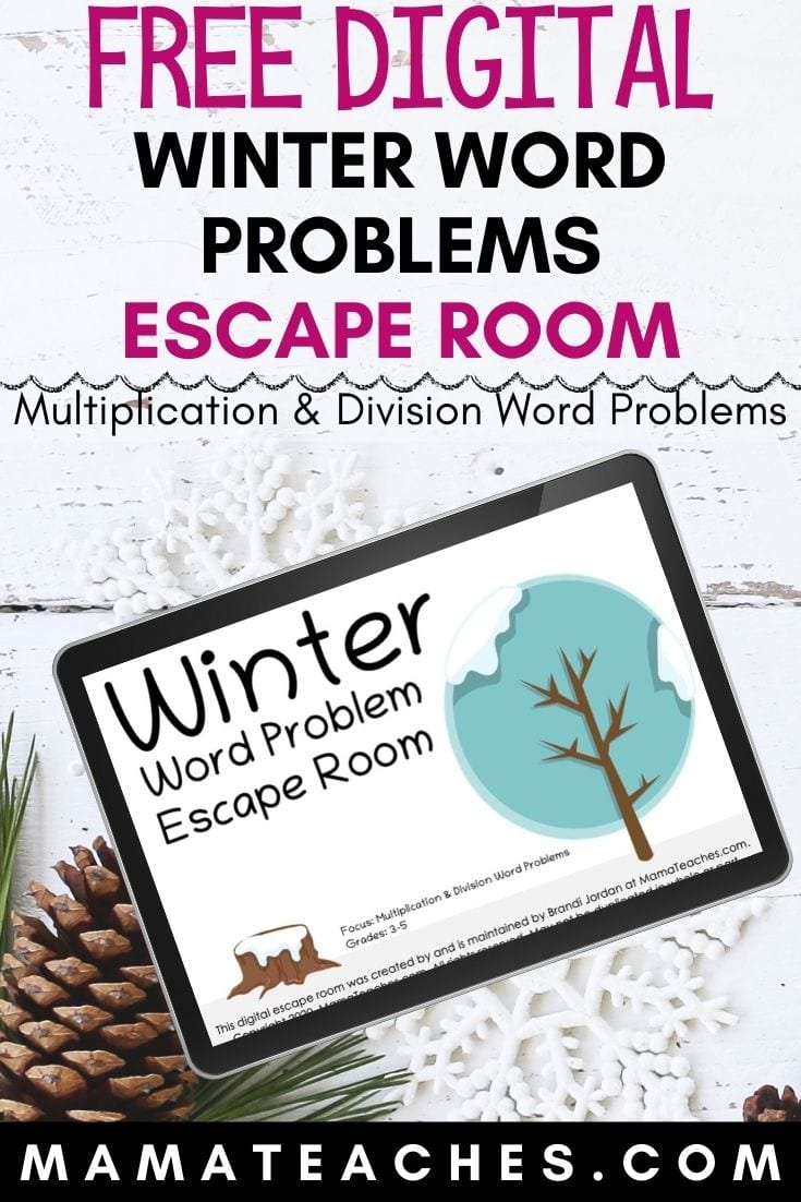 Winter Word Problems Digital Escape Room - a Free Multiplication and Division Word Problems Virtual Escape Room