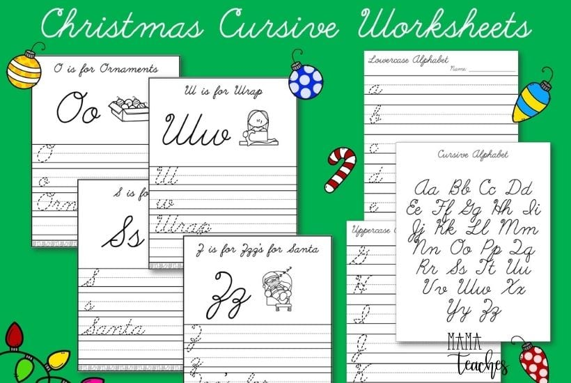Christmas Alphabet Cursive Handwriting Worksheets