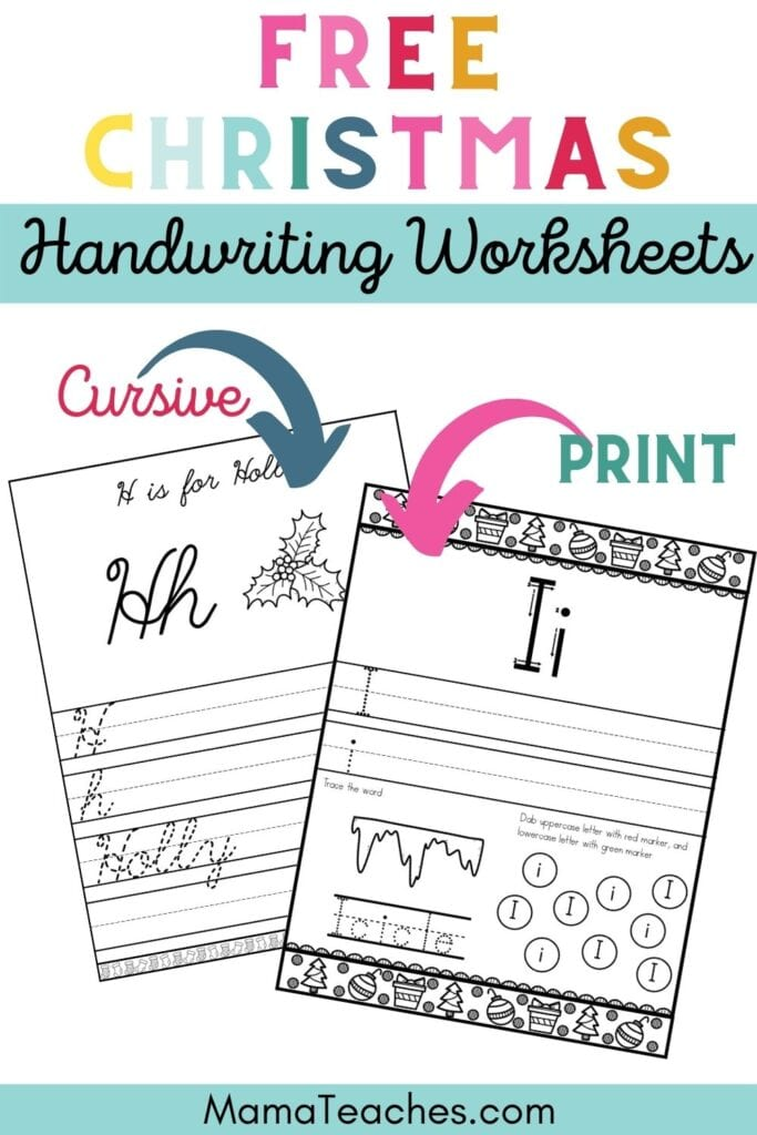 Free Christmas Handwriting Worksheets for Kids