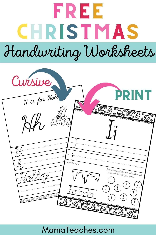 Free Christmas Handwriting Worksheets in Cursive and Print