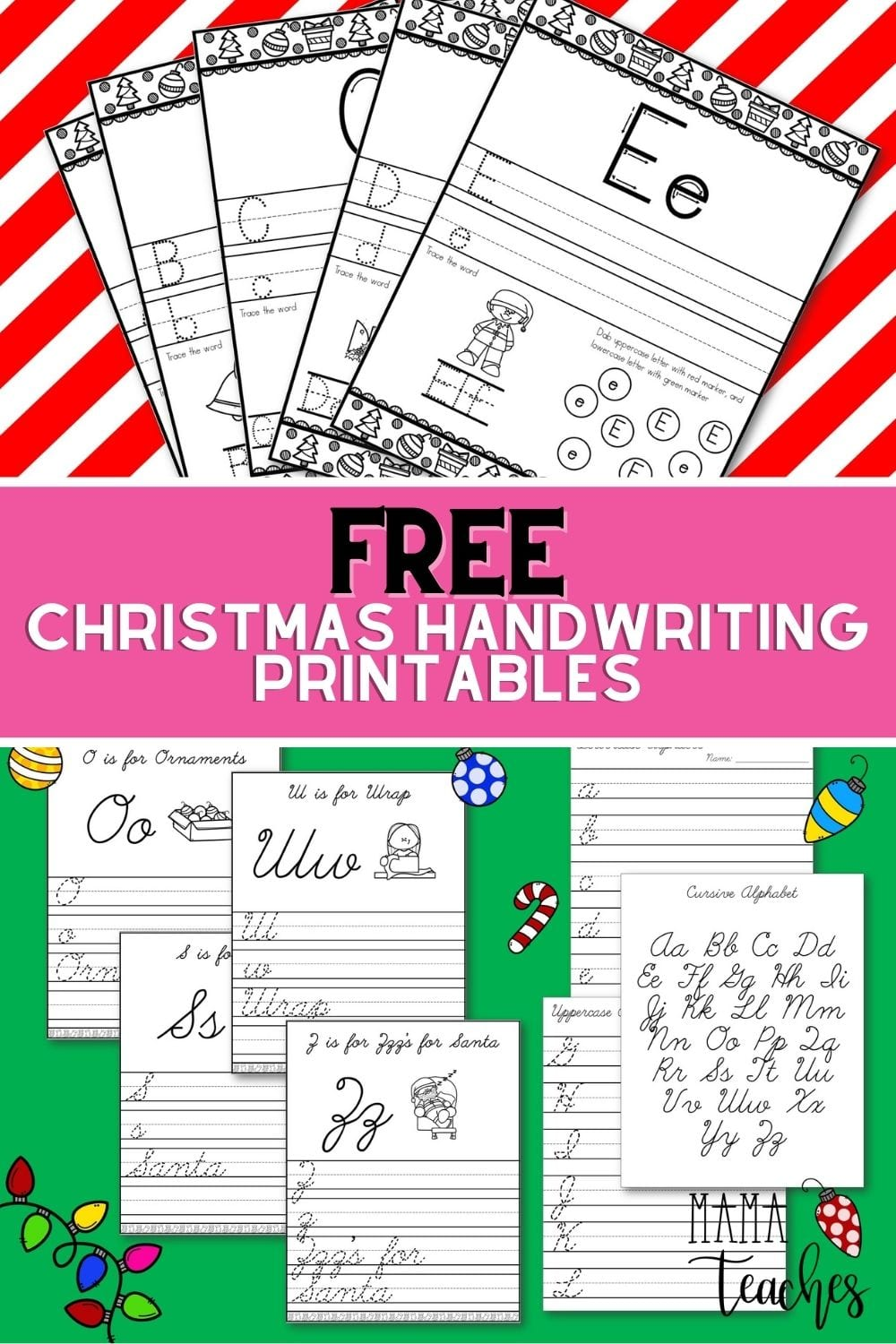 Free Christmas Alphabet Handwriting Printables in Print and Cursive Practice