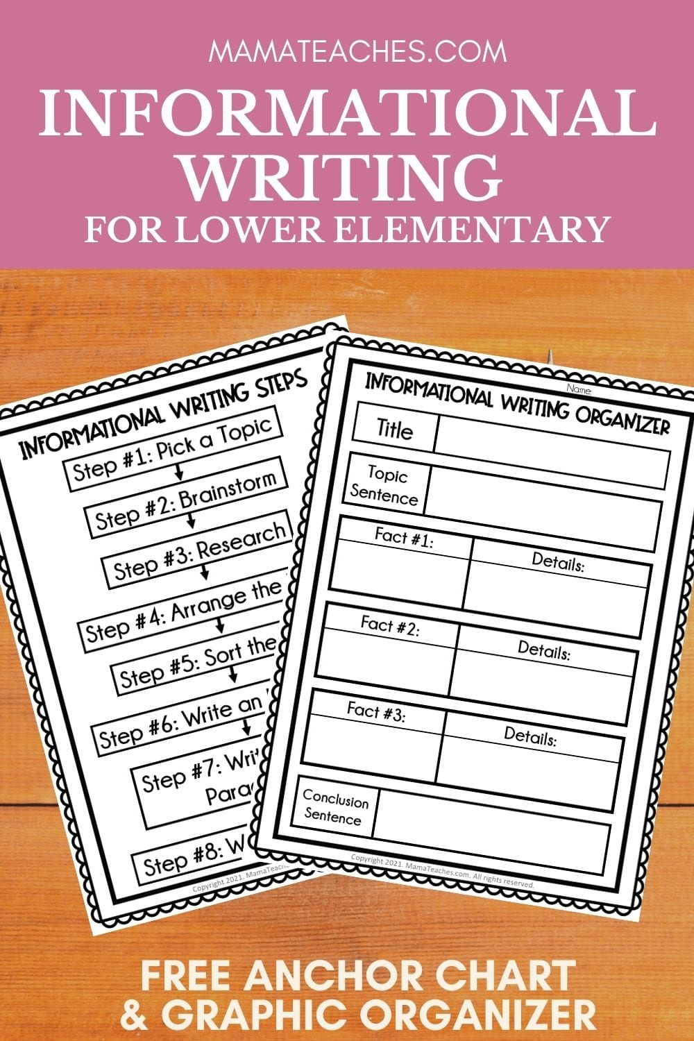 Free Informational Writing Anchor Chart and Writing Graphic Organizer for Lower Elementary