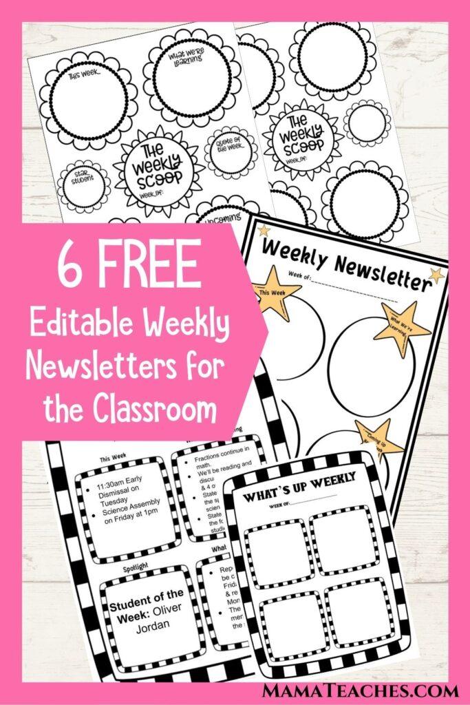 6 Free Editable Weekly Newsletters