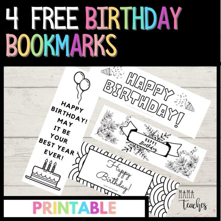 4 FREE BIRTHDAY BOOKMARKS
