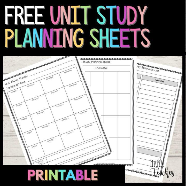 UNIT STUDY PLANNING SHEETS